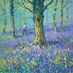 A Walk in the Bluebells by James Preston -  sized 24x24 inches. Available from Whitewall Galleries